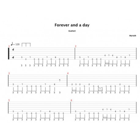 Tablature de Forever and a Day (Desert Call Album)